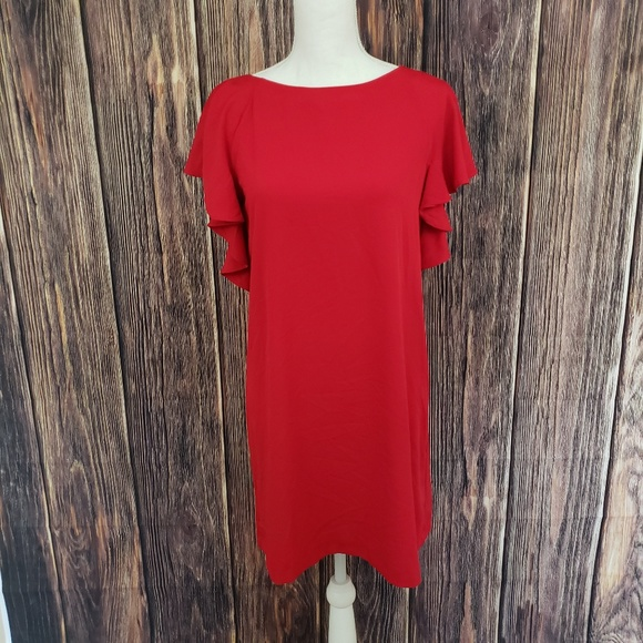 Zara Dresses & Skirts - Zara Red Ruffle Dress Wiyh Keyhole Back